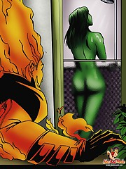 The Human Torch gets boned in futanari porn